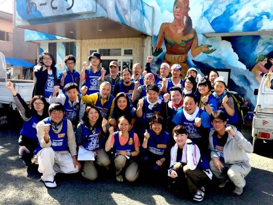 熊本地震災害支援時のボランティア集合写真